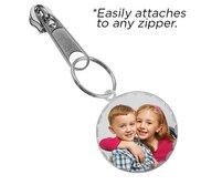 Exclusive Zipper Pull Medium Round with Diamond Cut Edge Photo Charm