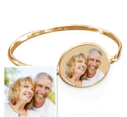 Oval Photo Engraved Bangle Bracelet