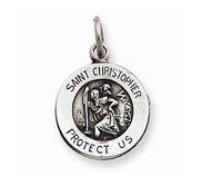 Sterling Silver Antiqued Round Saint Christopher Medal
