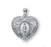 Sterling Silver Miraculous Medal w  Cubic Zirconias