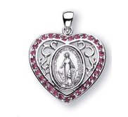 Sterling Silver Miraculous Medal w  Pink Cubic Zirconias