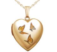 14K Gold Filled Monarch Butterfly Heart Locket