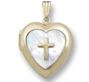 GOLD FILLED Heart Mother Of Pearl Cross Locket