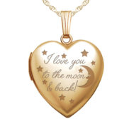 14k Yellow Gold   To The Moon   Back   Heart Locket