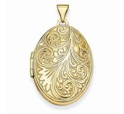 Solid 14k Yellow Engraved Gold Oval Locket
