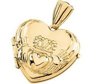 Solid 14k Yellow Gold HEART CLADDAGH LOCKET