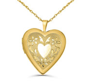 14K Gold Filled Yellow  LOVE  Heart Locket w  Heart Design