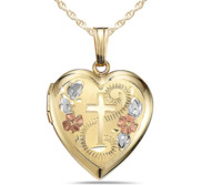14K Gold Filled Cross Heart Locket