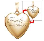 14k Yellow Gold  Family Love  Heart Locket