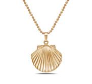 Gold Tone Seashell Locket w  18  Chain