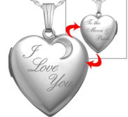 Sterling Silver   I Love You To The Moon   Back  Heart Locket