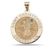 Saint Christopher Religious Round Medal w  Birthstone