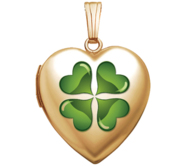 14K Yellow Gold  Sweetheart  4 Leaf Clover w  Green Enamel Locket