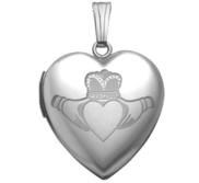 14k White Gold  Sweetheart  Celtic Claddagh Locket