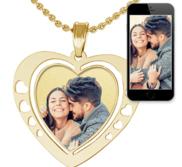 Heart Photo Pendant Charm w  Heart Cut Outs