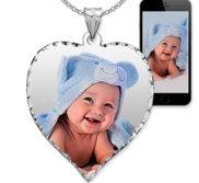 Heart Photo Pendant Charm with Diamond Cut Edge
