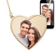 Heart with Border Photo Pendant Picture Charm with Two Loops