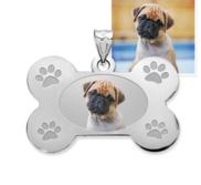 Photo Engraved Dog Bone Photo Pendant