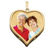 14K Large Heart w  Bezel Frame Photo Pendant Picture Charm