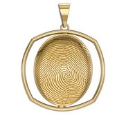 Custom Rounded Square Shaped Bezel 3D Fingeprint or Thumbprint Pendant
