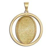 Custom Round Bezel 3D Fingeprint or Thumbprint Pendant