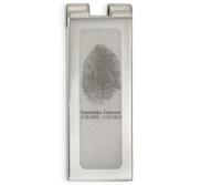 Stainless Steel Engraved Fingerprint Money Clip