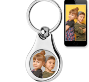 Stainless Steel Engravable Round Photo Laser Keychain