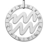Cutout Round Aquarius Symbol Charm or Pendant