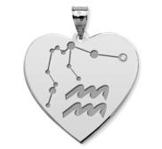 Aquarius Symbol Heart Charm or Pendant
